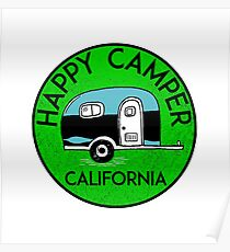 CAMPING HAPPY CAMPER CALIFORNIA TRAILER RV RECREATIONAL VEHICLE 3 Poster