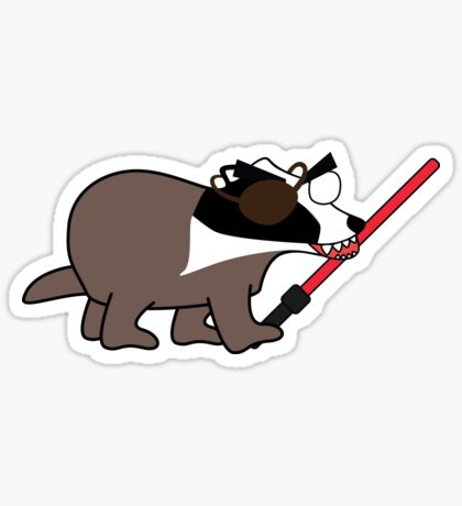 zombie pirate badger wielding a light saber Sticker
