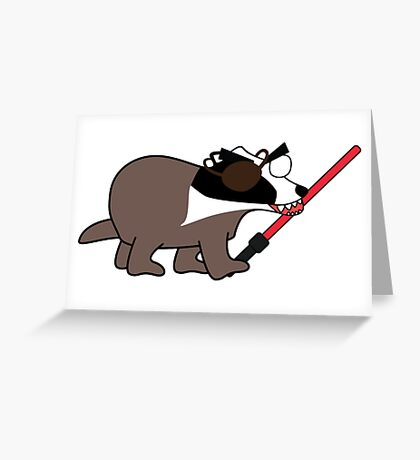 zombie pirate badger wielding a light saber Greeting Card