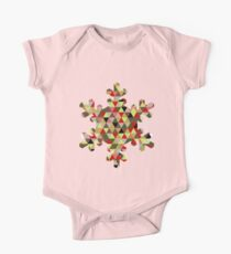 Multicoloured Modern Triangle Snowflake Christmas Design One Piece - Short Sleeve