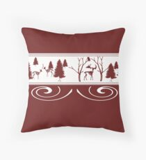 Scary Red Winter Throw Pillow