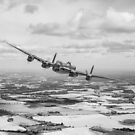 Home stretch: Lancaster over England, B&W version by Gary Eason