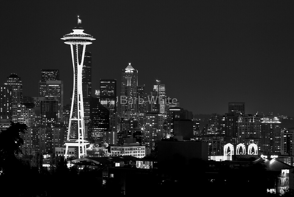 Downtown Seattle at Night (Black and White) by Barb White