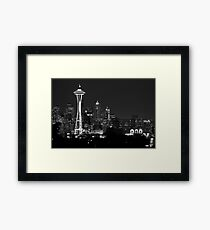 Downtown Seattle at Night (Black and White) Framed Print