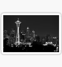 Downtown Seattle at Night (Black and White) Sticker