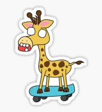 zombie giraffe on a skateboard Sticker