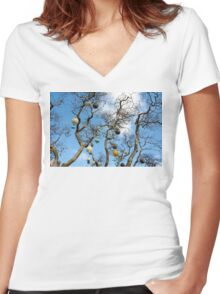 North Shore Christmas Tree Women's Fitted V-Neck T-Shirt