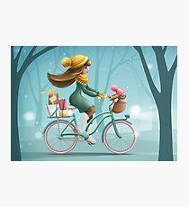 Girl riding a bike Photographic Print