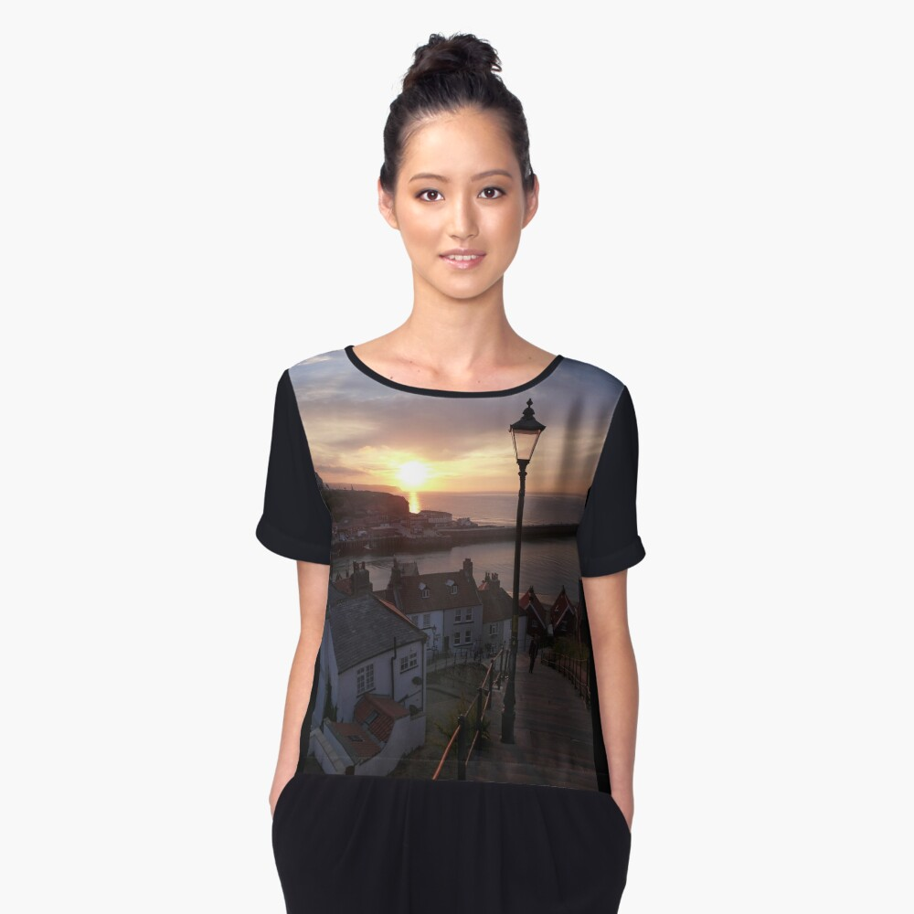 Whitby at sunset from the Abbey steps Women's Chiffon Top Front