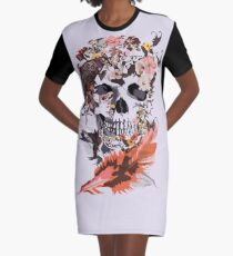 Birds, butterfly and Sugar Skull Graphic T-Shirt Dress