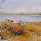 Dinghy on the Tamar by M Sluce by Wendy Dyer