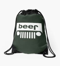 Beer Jeep Drawstring Bag