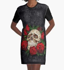 Red Rose Sugar skull Graphic T-Shirt Dress