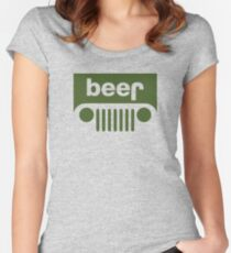 Drink beer in a truck or jeep. Women's Fitted Scoop T-Shirt