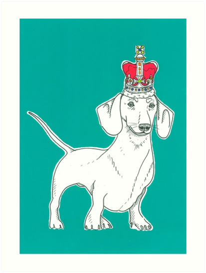 Dachshund In A Crown by Adam Regester