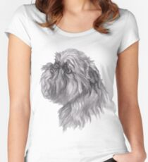 Brussels Griffon Dog Portrait Drawing Women's Fitted Scoop T-Shirt