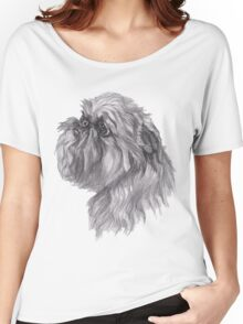 Brussels Griffon Dog Portrait Drawing Women's Relaxed Fit T-Shirt