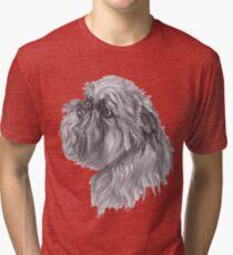 Brussels Griffon Dog Portrait Drawing Tri-blend T-Shirt