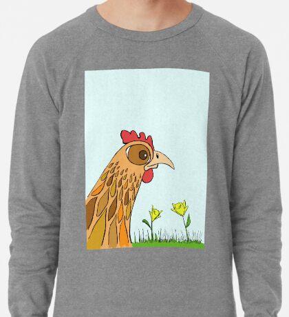 Cute Chicken in Garden Lightweight Sweatshirt