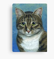 Brown Tabby Cat, acrylic painting Canvas Print