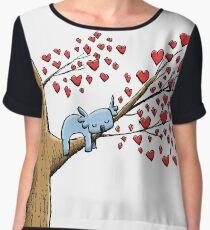 Cute Sleeping Koala on Tree with Hearts Chiffon Top