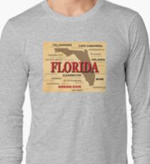Antique Florida State Pride Map Silhouette Long Sleeve T Shirt