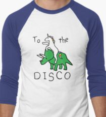 Zur Disco (Unicorn Riding Triceratops) Baseballshirt mit 3/4-Arm