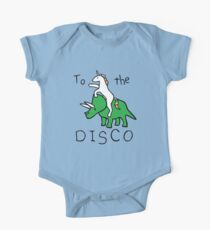Body de manga corta To The Disco (Unicorn Riding Triceratops)