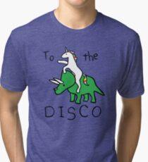 To The Disco (Unicorn Riding Triceratops) Tri-blend T-Shirt