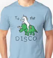 Camiseta unisex To The Disco (Unicorn Riding Triceratops)