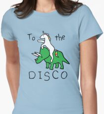 To The Disco (Unicorn Riding Triceratops) Women's Fitted T-Shirt