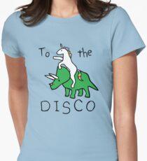 Zur Disco (Unicorn Riding Triceratops) Tailliertes T-Shirt für Frauen