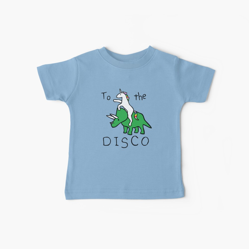 To The Disco (Unicorn Riding Triceratops) Camiseta para bebés