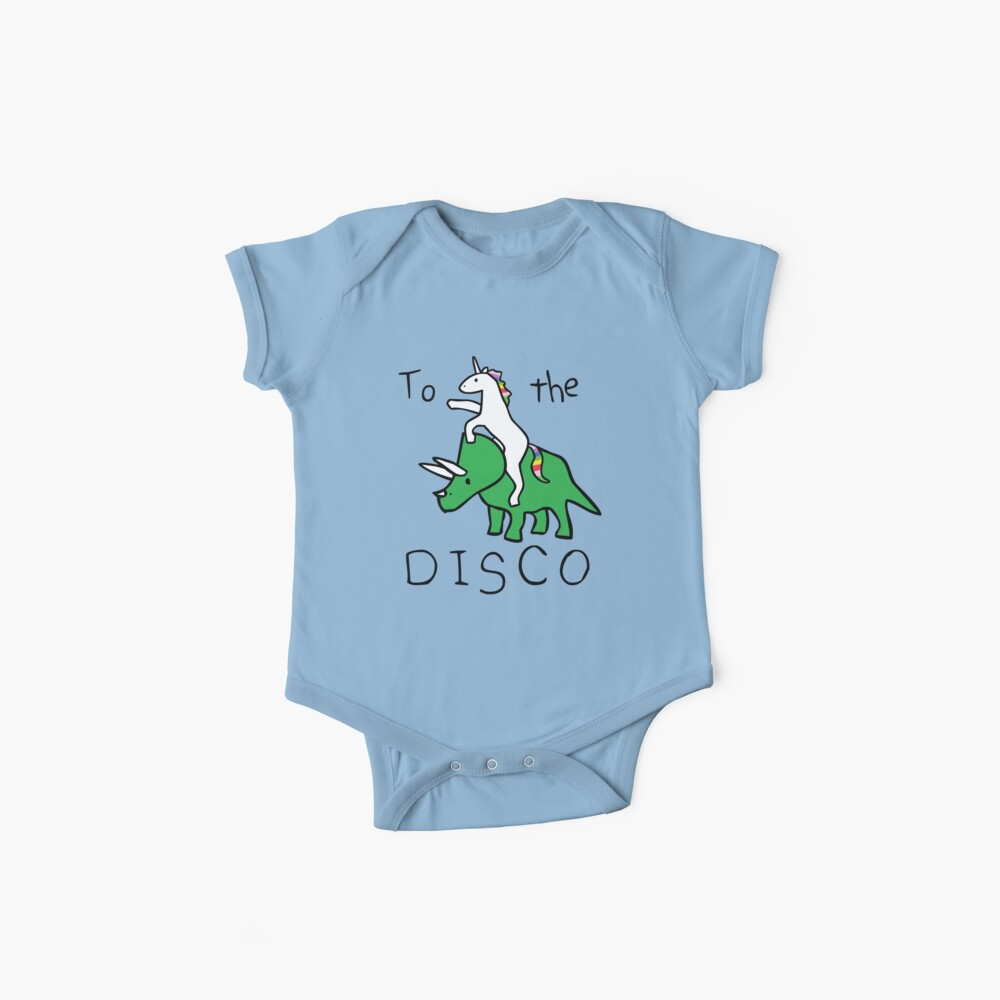 To The Disco (Unicorn Riding Triceratops) Baby One-Pieces
