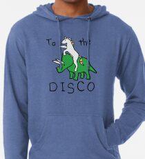 Zur Disco (Unicorn Riding Triceratops) Leichter Hoodie