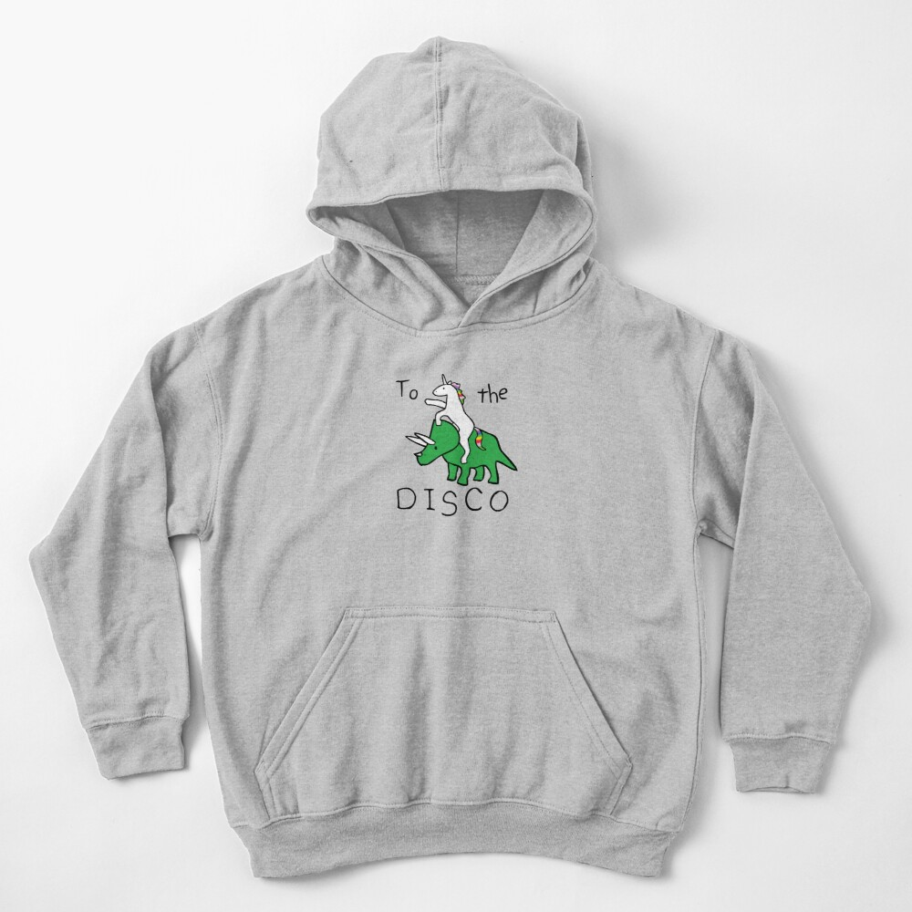 To The Disco (Unicorn Riding Triceratops) Kids Pullover Hoodie