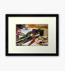 brush and paints Framed Print