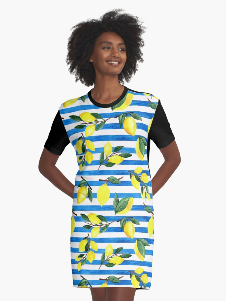 Watercolor lemons on striped background Graphic T-Shirt Dress Front