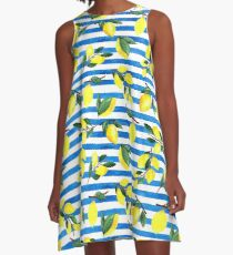 Watercolor lemons on striped background A-Line Dress
