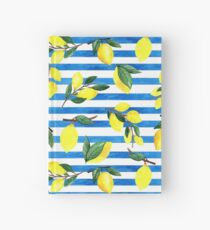 Watercolor lemons on striped background Hardcover Journal