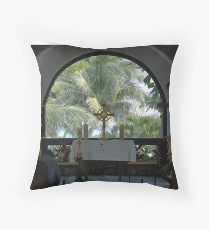 Altar amid Palms Throw Pillow
