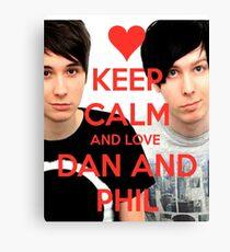 Bleib ruhig und LIEBE Dan und Phil Leinwanddruck