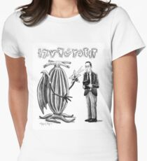 HP Lovecraft and Elder Thing Women's Fitted T-Shirt