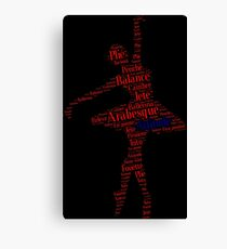 Ballet Typography : Red - Blue Canvas Print