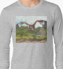 Harbinger's Shadow: The Red Shouldered Hawk Long Sleeve T-Shirt