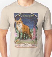 Fox and Foxgloves Constellation Vulpecula Art Nouveau Style Unisex T-Shirt