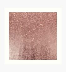 Girly Glam Pink Rose Gold Folie und Glitter Mesh Kunstdruck