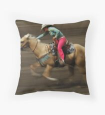 Rodeo Riding A Hurricane Throw Pillow