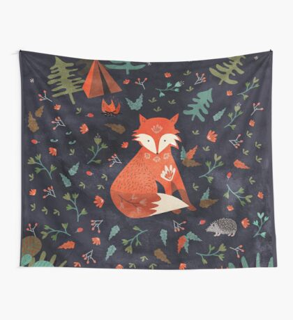 Camping With Fox Wall Tapestry