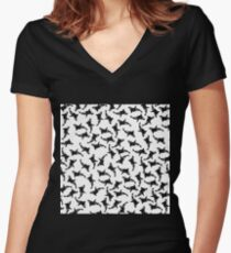 Orca Pattern Women's Fitted V-Neck T-Shirt